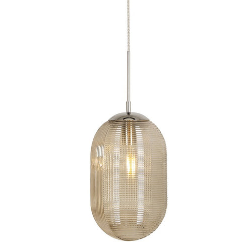 Lauren Ripple Smoke Or Amber Cognac Glass Pendant Light - Lighting.co.za