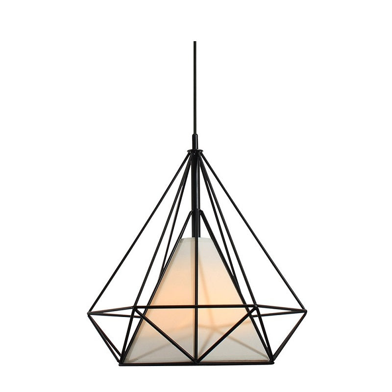 Nordic Diamond Black Wire And Cream Pendant Light - Lighting.co.za