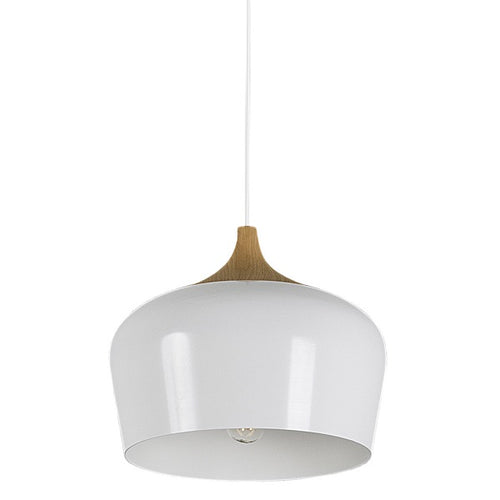 Fjord White And Wood Nordic 270 Pendant Light - Lighting.co.za