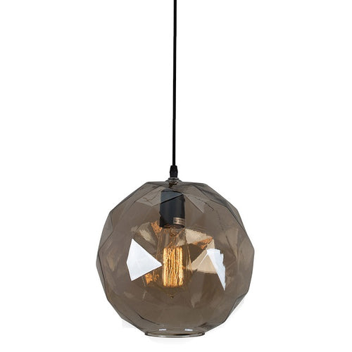 Denali Facet Round Smoke Or Amber Glass Pendant Light - Lighting.co.za