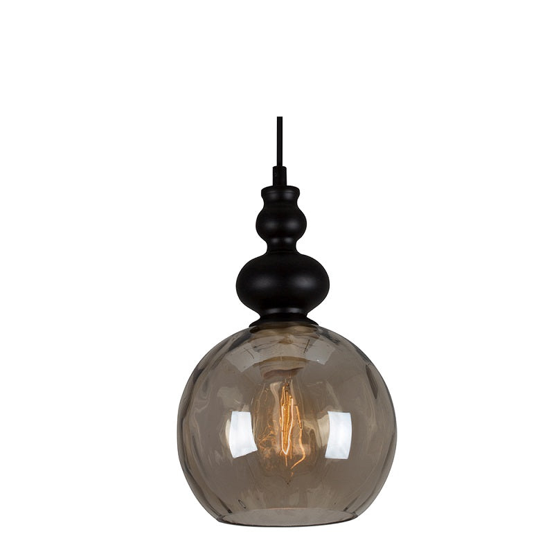 Victoria Smoke Or Amber Glass Vintage Pendant Light - Lighting.co.za