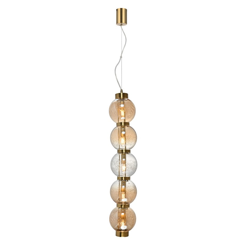 Pearl Vertical 5 Light Amber | Smoke Glass Pendant Light - Lighting.co.za