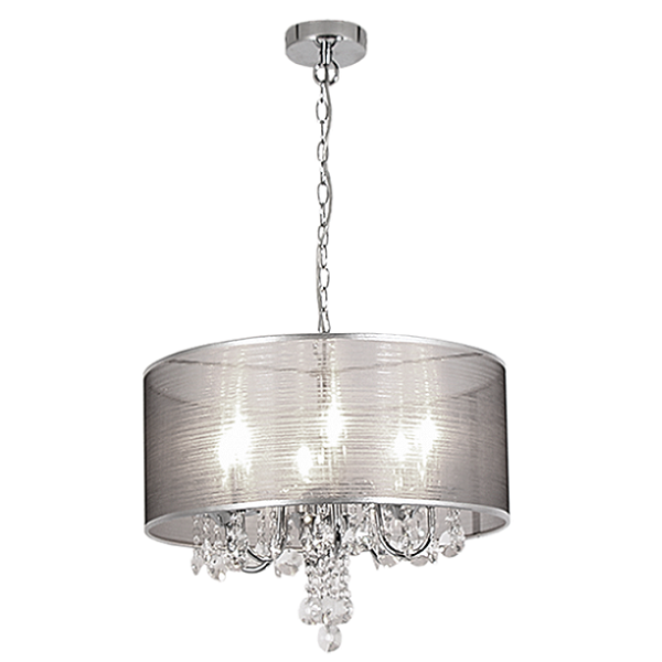 AMOS CHROME AND CRYSTAL SHADE CHANDELIER PEN281/6 CHR
