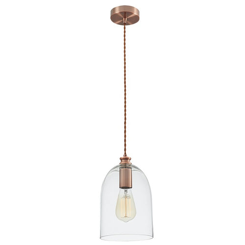 Bello Copper And Clear Glass Pendant Light - Lighting.co.za