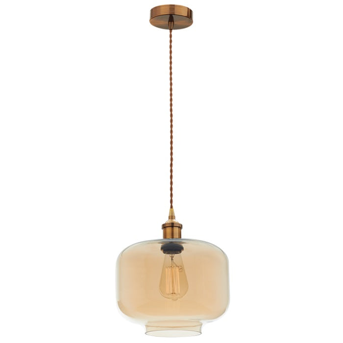 LIGHTHOUSE AMBER GLASS AND BRASS PENDANT - Lighting.co.za
