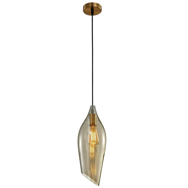 Bollene Brass And Amber Glass Pendant Light - Lighting.co.za