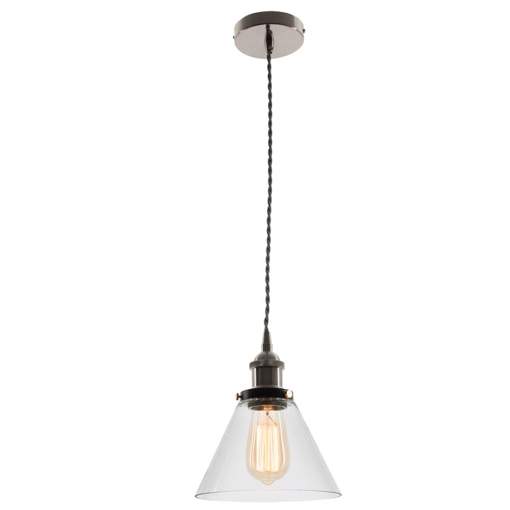 HINDLEY CONE CLEAR GLASS PENDANT - Lighting.co.za