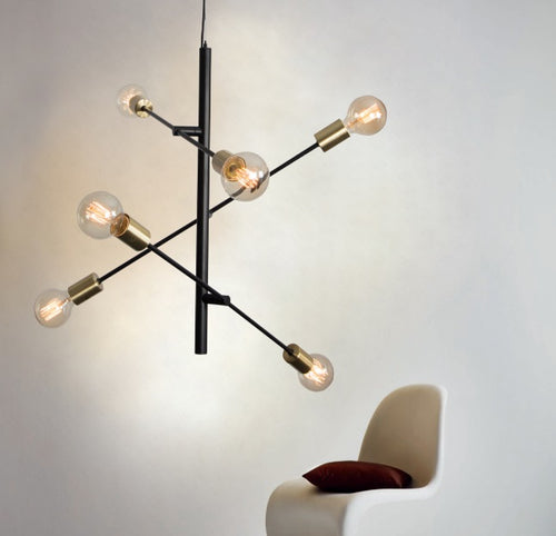 Den Multi Light Black And Brass Pendant Light - Lighting.co.za