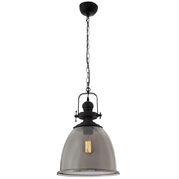 Padoa Black And Smoke Glass Industrial Pendant Light - Lighting.co.za