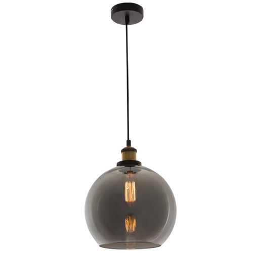 Hindley Smoke Or Amber Glass Ball Pendant Light - Lighting.co.za