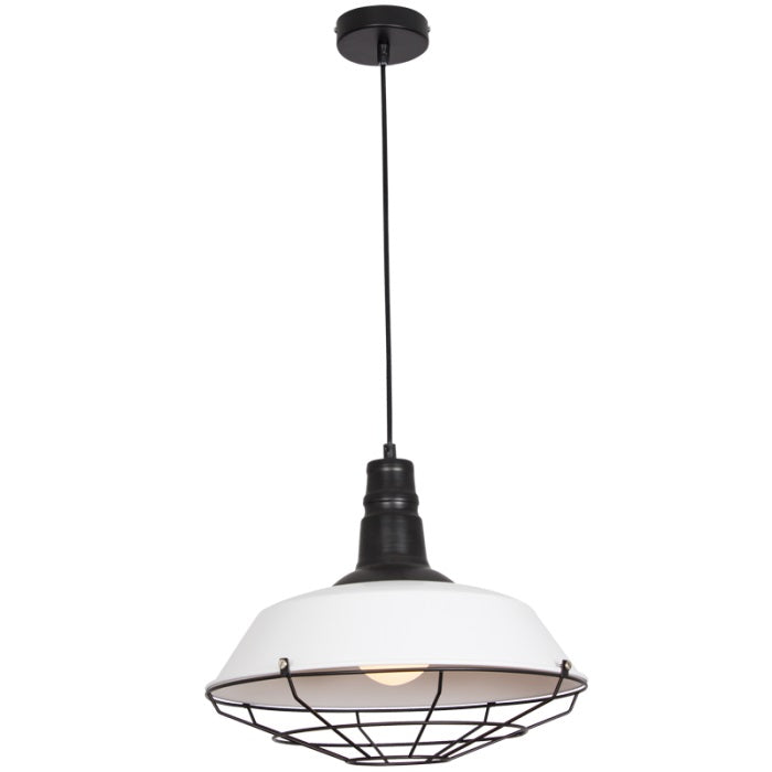 Ridley Black And White Industrial Cage Pendant Light - Lighting.co.za
