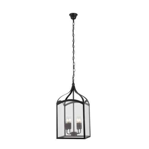 Oriel Black Lantern Pendant Light with Clear Glass - Lighting.co.za