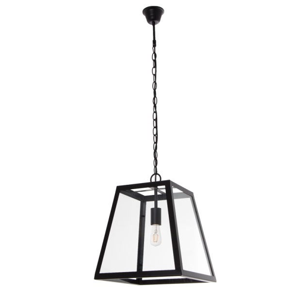 Greyton Cube 1 Light Black And Glass Lantern Pendant Light - Lighting.co.za
