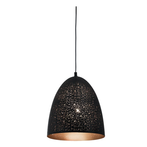 TERRAGONA CONE PERFORATED BLACK GOLD PENDANT