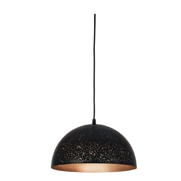 Terragona Small Dome Perforated Metal Black Gold Pendant Light - Lighting.co.za