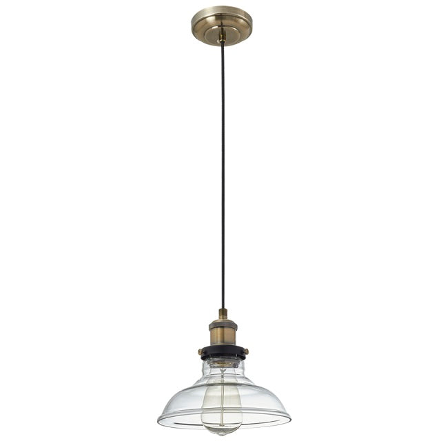 Faye Clear Glass Antique Brass Vintage Pendant Light - Lighting.co.za