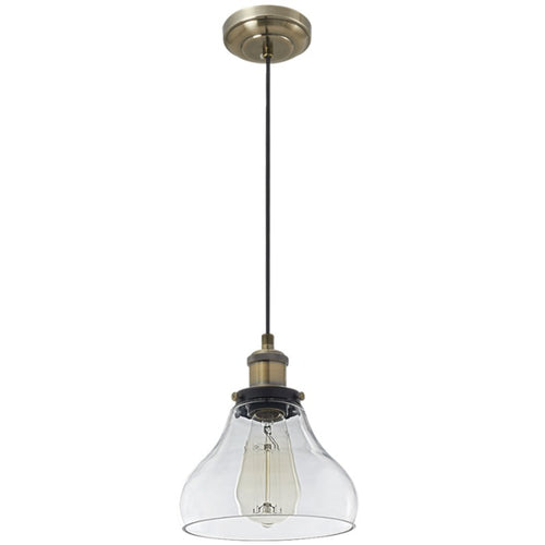 Alpa Clear Glass And Antique Brass Vintage Pendant Light - Lighting.co.za