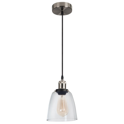 Bodo Black And Chrome Vintage Glass Pendant Light - Lighting.co.za