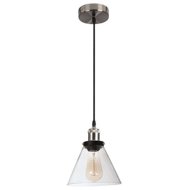 Newton Black And Chrome Vintage Clear Glass Pendant Light - Lighting.co.za