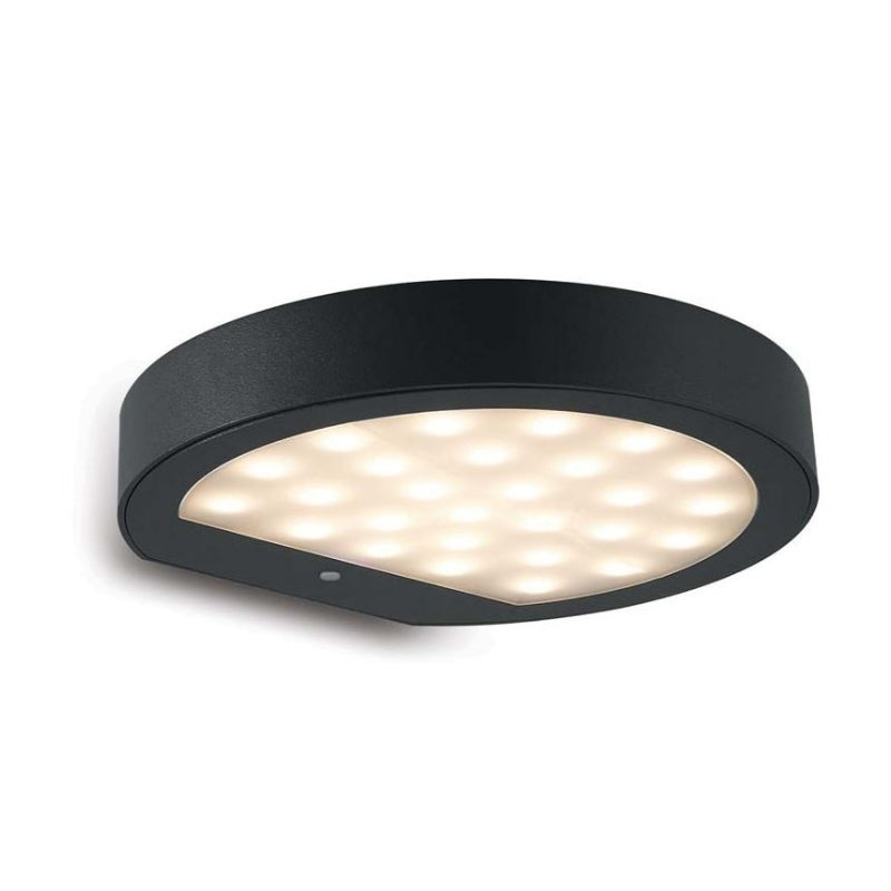 Polco Solar with Motion Sensor LED Black Spazio Outdoor Wall Light - Lighting.co.za