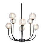 ZIVAH 8 | 12 | 18 LIGHT BLACK AND CLEAR GLASS CHANDELIER - Lighting.co.za
