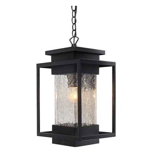 Osmo Sand Black And Glass Outdoor Pendant Light - Lighting.co.za