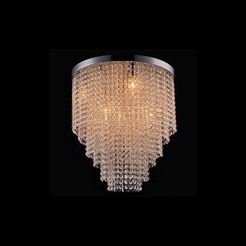 WATERFALL ROUND K9 CRYSTAL CEILING FITTING TWO SIZES - Lighting.co.za