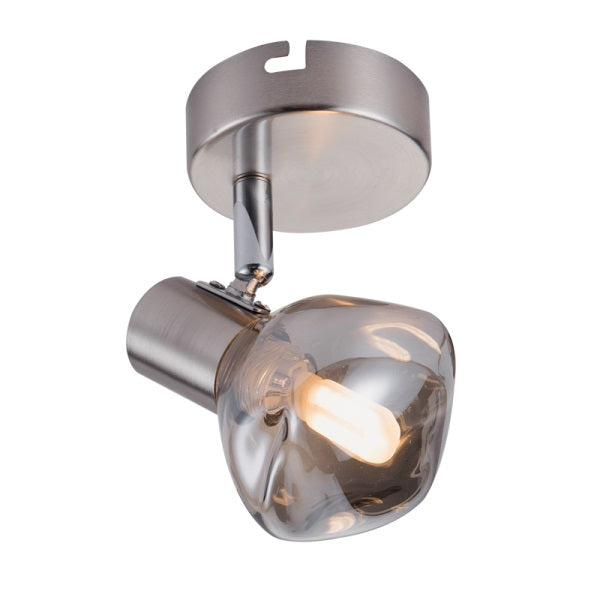 MILAN ADJUSTABLE SMOKE GLASS 1L SPOTLIGHT - Lighting.co.za