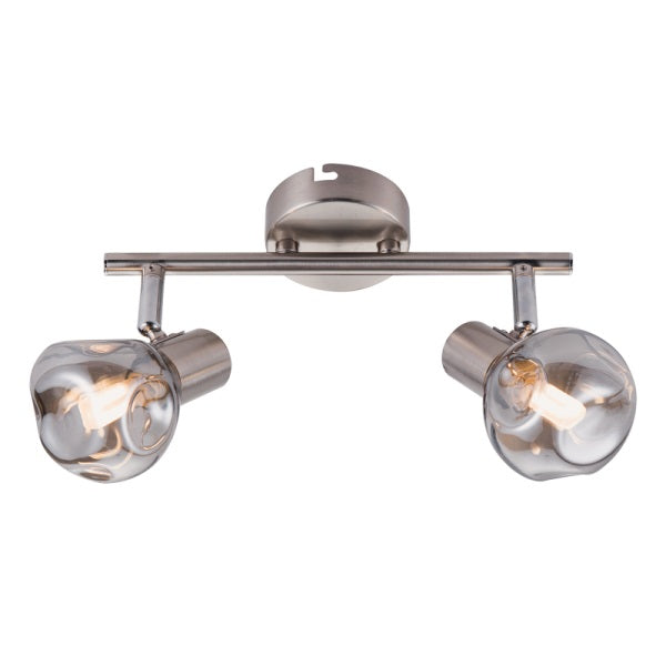 MILAN ADJUSTABLE SMOKE GLASS 2L SPOTLIGHT - Lighting.co.za