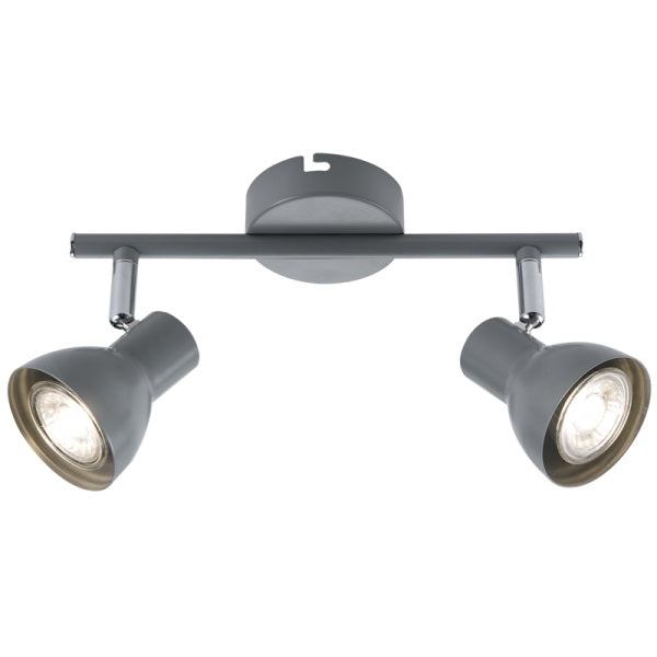Onin Grey Adjustable GU10 2 Light Spot Light - Lighting.co.za