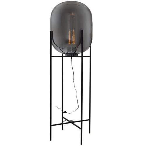 Cleo Black And Smoke Glass Floor Lamp - Lighting.co.za