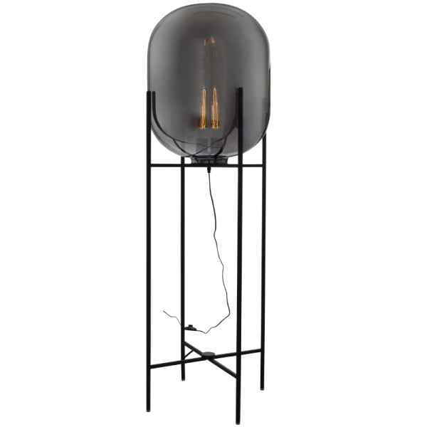 CLEO SMOKE AND BLACK GLASS FLOOR LAMP - Lighting.co.za