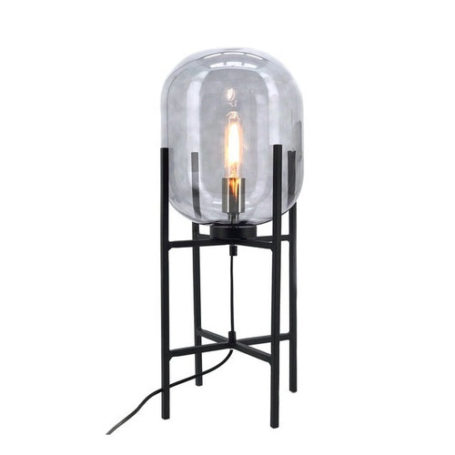 PEDESTAL TABLE LAMP WITH SMOKE GLASS - Lighting.co.za
