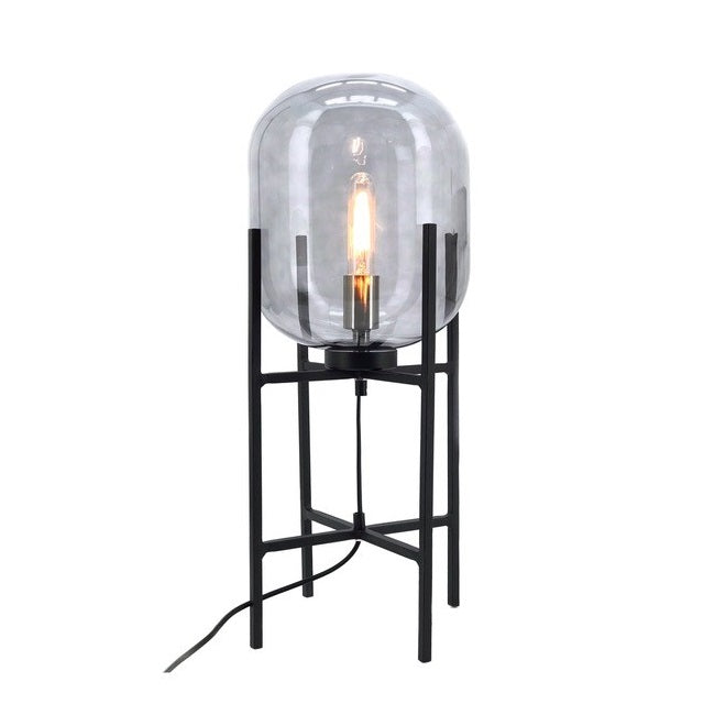 Pedestal Black And Smoke Glass Table Lamp - Lighting.co.za