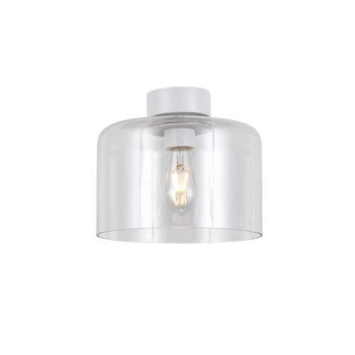 Drum White And Clear Glass Ceiling Light - Lighting.co.za