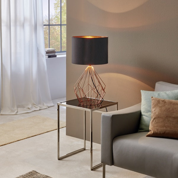 Pedregal Copper Or White Wire Grid With Shade Table Lamp - Lighting.co.za