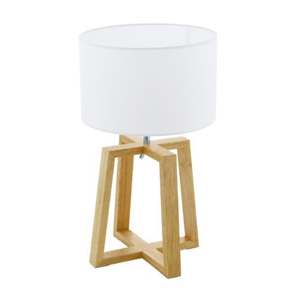 Chientino Wood And White Shade Table Lamp - Lighting.co.za