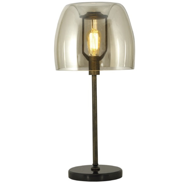 Alessia Black and Amber Glass Shade Table Lamp - Lighting.co.za