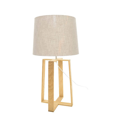 OASIS OAK WOOD GEO TABLE LAMP SET - Lighting.co.za