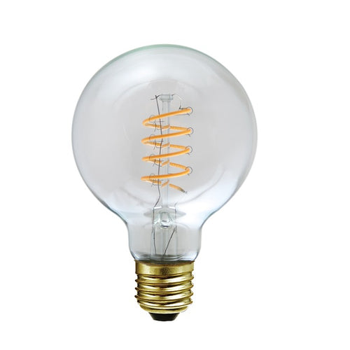 E27 G80 Clear LED Spiral Filament Bulb 4W 2200K Dim K - Lighting.co.za