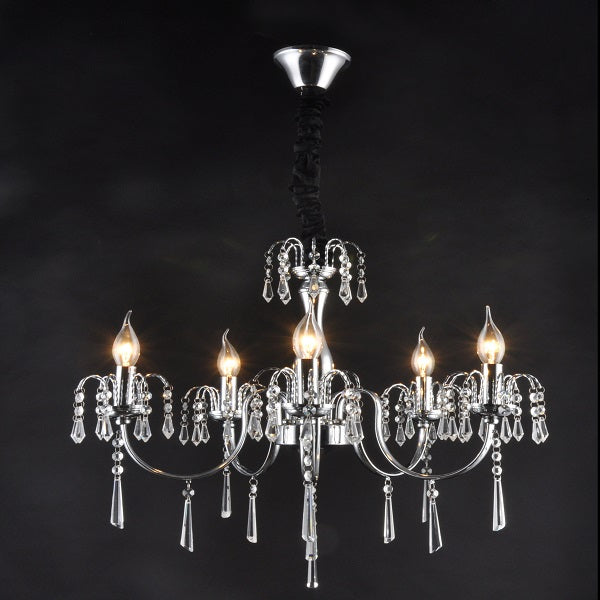 Elegant Chrome And K9 Crystal 5 | 8 Light Chandelier - Lighting.co.za