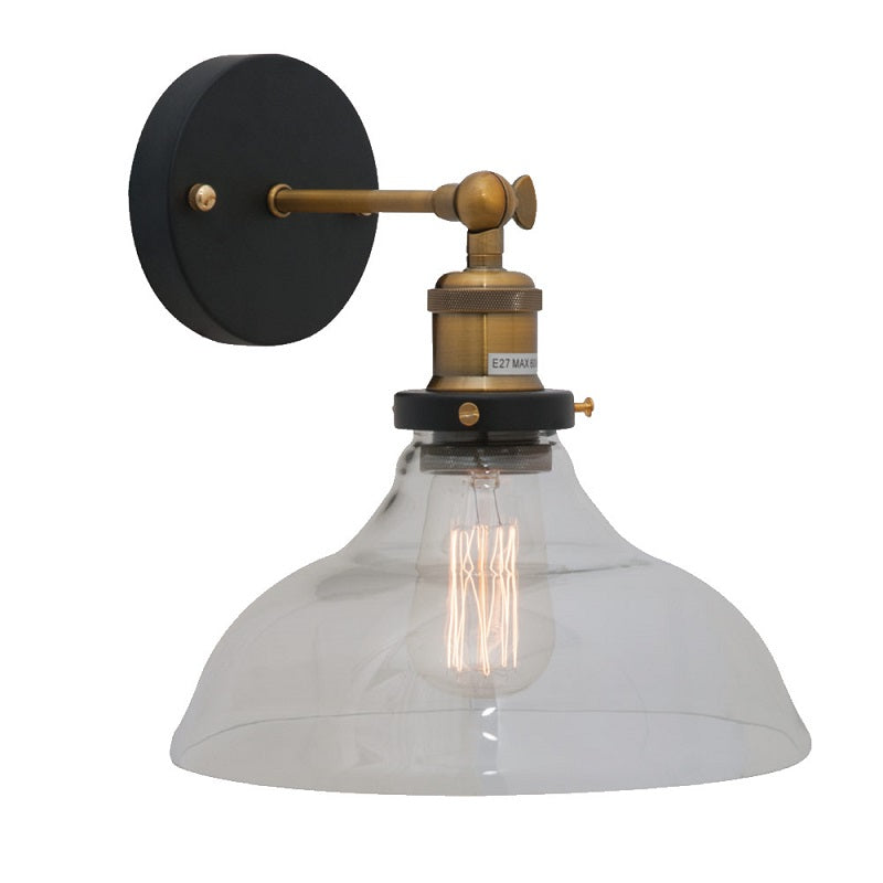 Vino Farmstyle Cloche Clear Glass Wall Light - Lighting.co.za