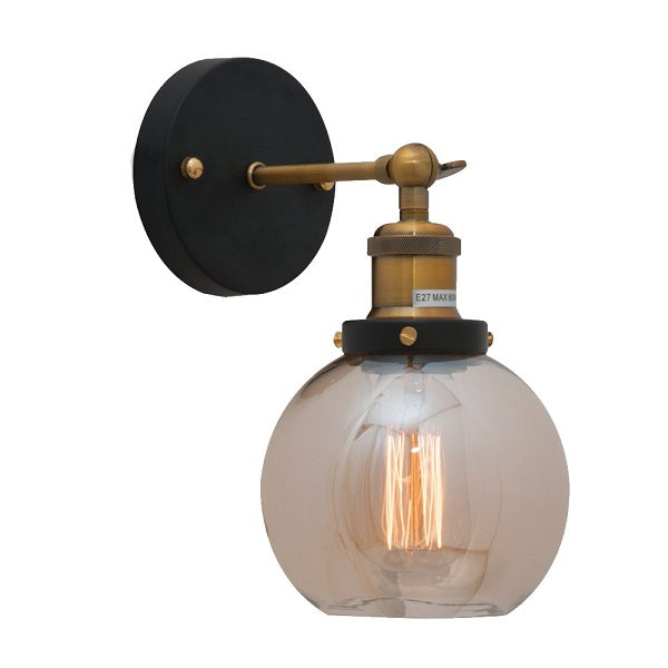 Genoa Small Amber Glass And Antique Brass Wall Light - Lighting.co.za