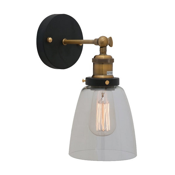 Genoa Bell Clear Glass And Antique Brass Wall Light - Lighting.co.za