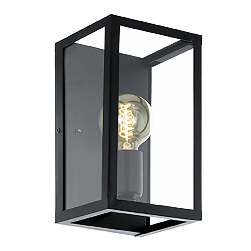 CHARTERHOUSE BLACK AND CLEAR GLASS WALL LIGHT - Lighting.co.za