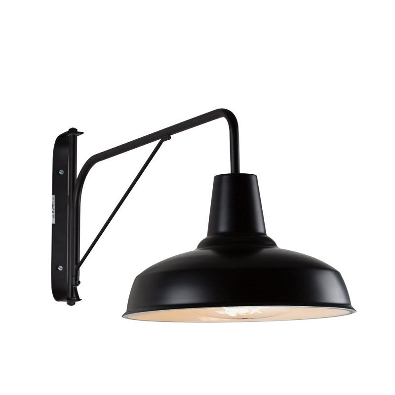 BURANO FARMSTYLE INDUSTRIAL BLACK ARM WALL LIGHT