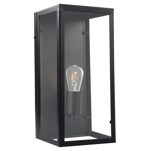 Greyton Cube Black And Clear Glass Lantern Wall Light - Lighting.co.za