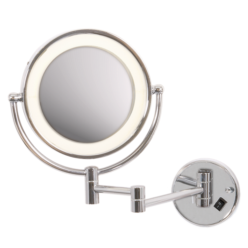 Vela Chrome Magnifying Bathroom Mirror Wall Light - Lighting.co.za