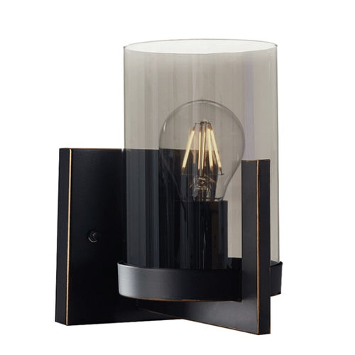 Bristol Black Gold And Smoke Glass Wall Light - Lighting.co.za