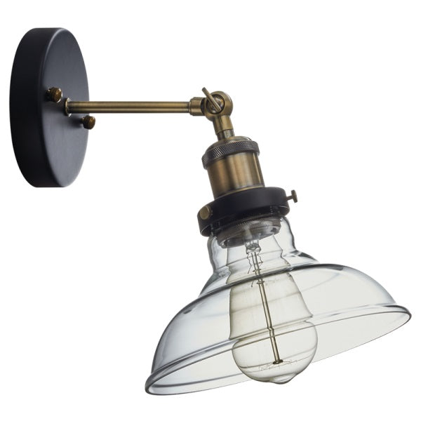FAYE CLEAR GLASS ANTIQUE BRASS VINTAGE WALL LIGHT - Lighting.co.za